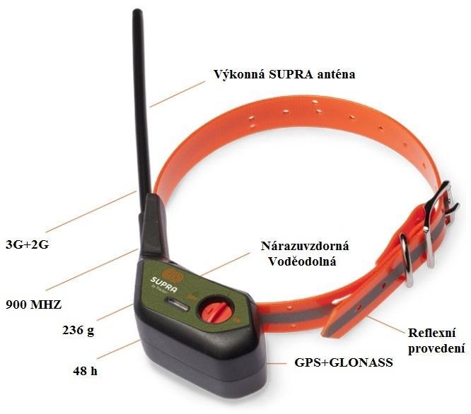 DOG Trace elektronický výcvikový obojek Sledovací GPS obojek SUPRA - Tracker